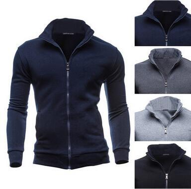 Spring Hot Selling Men pure color stand collar Thin Sweater Jacket Casual Loose Fashion Zipper Hooded retro tops Coat