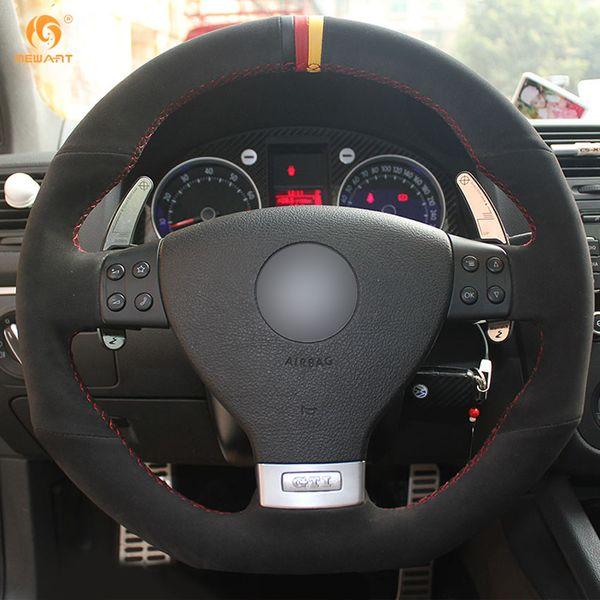 Mewant Black Suede Black Red Yellow Marker Car Steering Wheel Cover For  Volkswagen Golf 5 Mk5 GTI VW Golf 5 R32 Cool Steering Wheel Cool Steering
