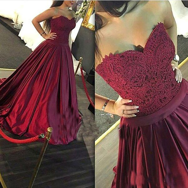 2017 Elegant Burgundy Long Prom Dresses Sweetheart Applique Ribbon Satin Backless Full Length Formal Evening Party Gowns Custom Made