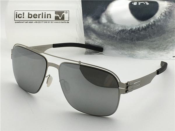 Lunettes de soleil pour hommes de marque Allemagne IC wetter fahe ultra-léger sans alliage à mémoire de vis monture amovible en métal recouvert de lentille réfléchissante