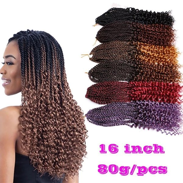 top popular Pre-Twisted curl Kanekalon Kinky Dreadlocks Crochet hair Afro Hot 16 inch Synthetic Twist Braiding Hair Extensions Jerry Curly Faux Locs 2020