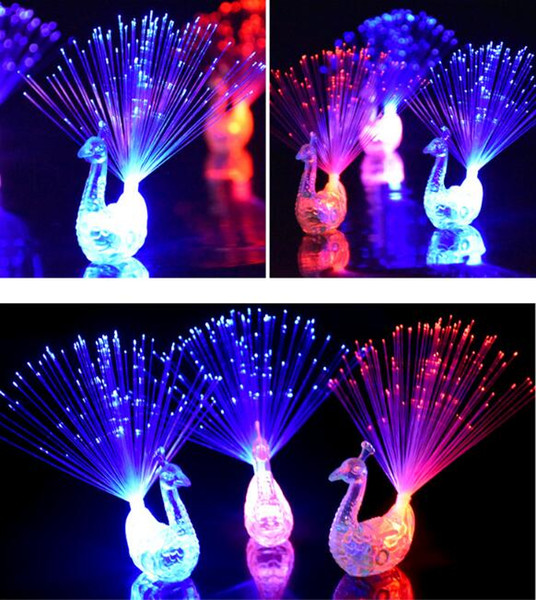 New Peacock Finger Light Colorful LED Light-up Rings Party Gadgets Kids Intelligent Toy for Brain Development