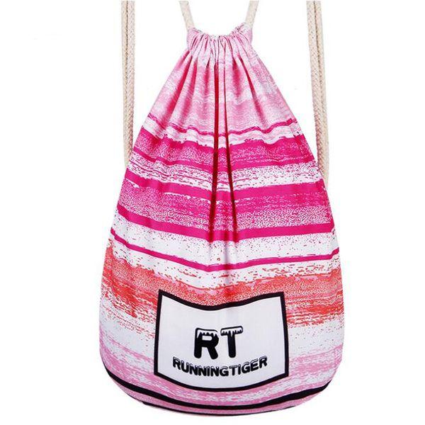 Pink Stripe Diamond Flower Printing Backpack Drawstring Bag for women men Fashion Backpack style DHL free shipping