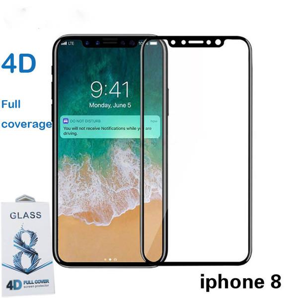 Für iPhone X gehärtetes Glas Frontscheibe Schutzfolie Full Cover 4D gekrümmte harte Kante Film Full Coverage gehärtete Gläser Rand