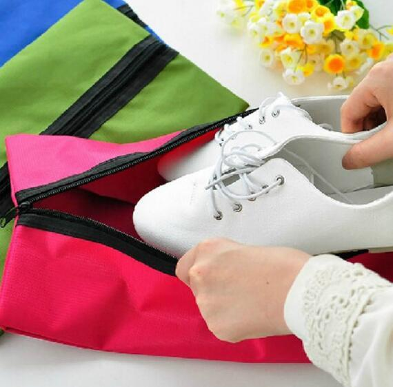 Travel Portable Shoes Bag with Middle Zipper Dust-proof Foldable Slipper Bag Case Nylon Shoes Storage Solid Colors