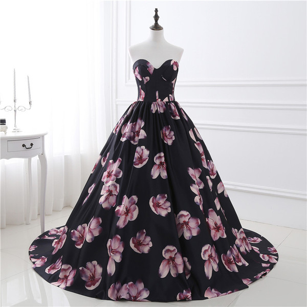 top popular In Stock New Printed Flowers Prom Dress Ball Gowns Long Quinceanera Dress Sweetheart Floor Length Black Party Dresses 2020