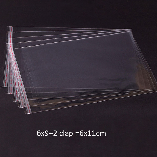 500pcs Clear Resealable BOPP/Poly/ Cellophane Bags 6x11 cm Transparent OPP gift bags Plastic packaging bags Self Adhesive Seal