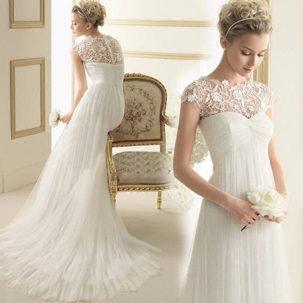Cheap In Stock White Bridal Gown Crew Short Sleeve Brush Train Wedding Dress Lace Chiffon Empire Wedding Dresses With Covered Button