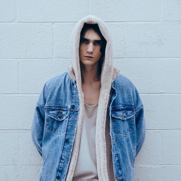 All'ingrosso- ONCEGALA Sherpa Hoodie Streetwear Kanye West Abbigliamento Moda Hip Hop Skateboard Abbigliamento urbano Swag Uomo Felpe con cappuccio Cardigan con cappuccio