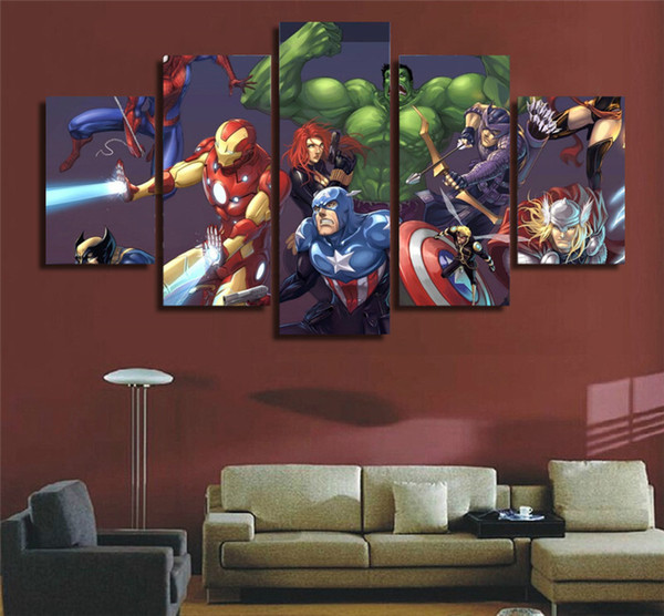 Captivating Marvel Avengers Hulk Spider Man,Home Decor HD Printed Modern Art Painting