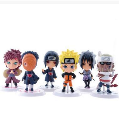 Wholesale 6 PCS Set NARUTO Q Edition Action Figures Doll High Quality PVC Anime Toys Sasuke Itachi Gaara Obito Figures Model Toys