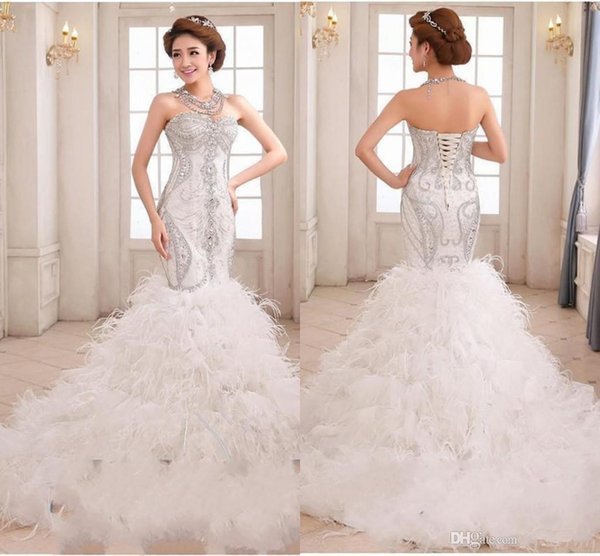 Gorgeous Mermaid Wedding Dresses Embroidery Beaded Crystals Stunning ...
