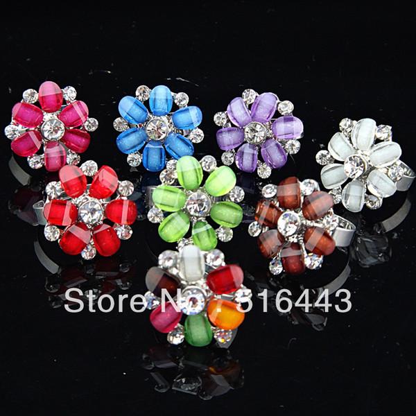 Fashion 5pcs Crystal Resin Czech Rhinestones Women Girls Silver Plated Big Flower Rings Wholesale Jewelry Lots A-783