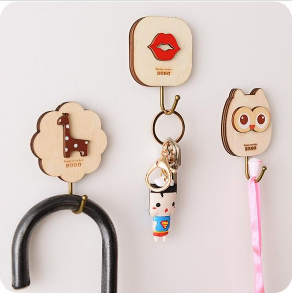 hot sale home bathroom kitchen accessories self adhesive holder hanger cute cartoons wooden hooks key hanging wall rails free shipping