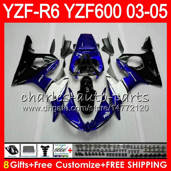 best selling 8Gifts 23Colors Body For YAMAHA YZF600 YZFR6 03 04 05 YZF-R600 56HM2 TOP blue black YZF R 6 YZF 600 YZF-R6 YZF R6 2003 2004 2005 Fairing kit