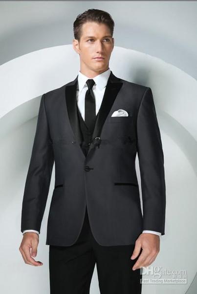 Brand New Groom Tuxedos Charcoal Grey Peak Lapel Best man Groomsman Men Wedding Suits Prom/Form/Bridegroom (Jacket+Pants+Tie+Vest+Hanky)
