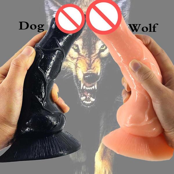 Realista Dog Dildo Grande Lobo Dildo Animal Sex Toys para Homens Mulheres Fetiche Stuffed Dildo G-Spot Masturbação Plugue Anal Brinquedo Barato Q22