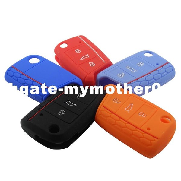 3 Buttons Silicone Key Fob Protect Cover Case For VW Polo 2016 Golf 7 MK7 For Skoda Octavia Combi A7 For SEAT Leon Ibiza CUPTRA