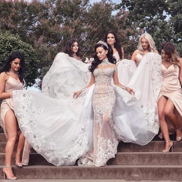 Impressionante Sereia De Luxo De Cristal Vestidos de Casamento Major Beading Alta Pescoço Apliques de Mangas Compridas Vestidos de Casamento longo Trem Vestidos de Noiva