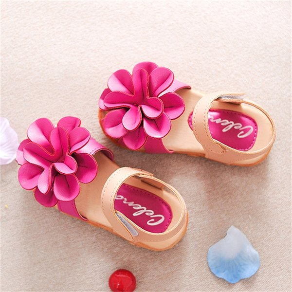 New Arrival Summer Cool Baby Girls Sandals Shoes Skidproof Toddlers Infant Children Kids Flower Shoes PU Leather Size 21-33