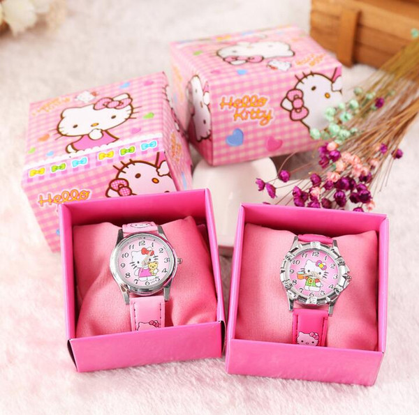 Free Shipping 12 Pcs Cartoon hello kitty Kids Girls Boys Children Students Quartz Wrist Watch Very Popular have gift box