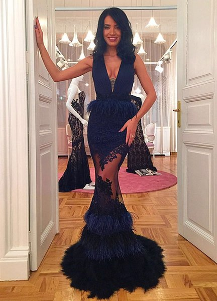 Sexy Mermaid Lace Prom Dresses 2017 Custom Made Deep V Neck Sleeveless Feather Sheer Back Vintage Evening Party Gowns