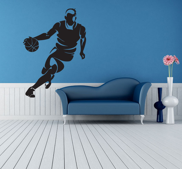 Free Shipping: Middle Sized 3D DIY Photo DribblingBasketball Player PVC Decals/Adhesive Family Wall Stickers Sport Mural Art Home Decor