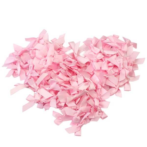 1000 Pcs Handmade Small size Polyester Satin ribbon Bow Flower 4 Color Pink Red White Light Blue Color DIY Craft Decoration