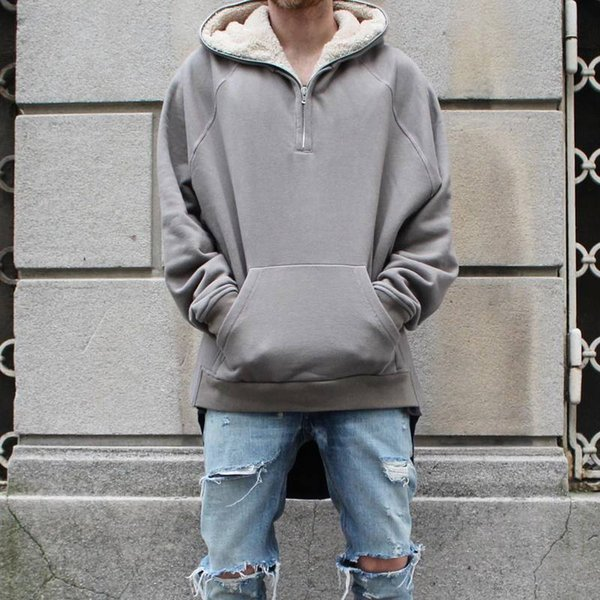Wholesale- KMO dropshipping streetwear hip hop half zip split up sherpa hoodie fleece jacket latex fur coats designer mens brand clothing