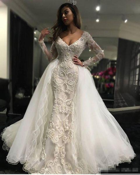 2017 Zuhair Murad Overskirt Train Mermaid Wedding Dresses V Neck Long Sleeves Appliques Plus Size Vestidos