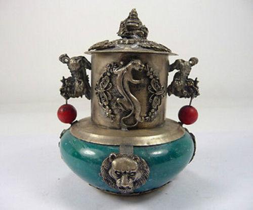 Exquisite old handwork jade incense armored Copper dragon phoenix kirin Buddha Incense burner