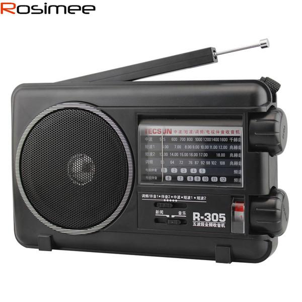 Wholesale-TECSUN R305 digital radio Retail-Wholesal FM MW SW TV Bands receiver r-305 Portable Radio With Built-In Speaker Digital Receiver