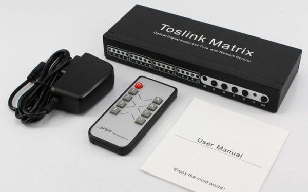 Toslink Matrix ses dağıtım SPDIF / TOSLINK Optik Dijital Ses 4x4 Uzaktan Kumanda ile Uzaktan Kumanda 4 4 out toslink anahtarı splitter