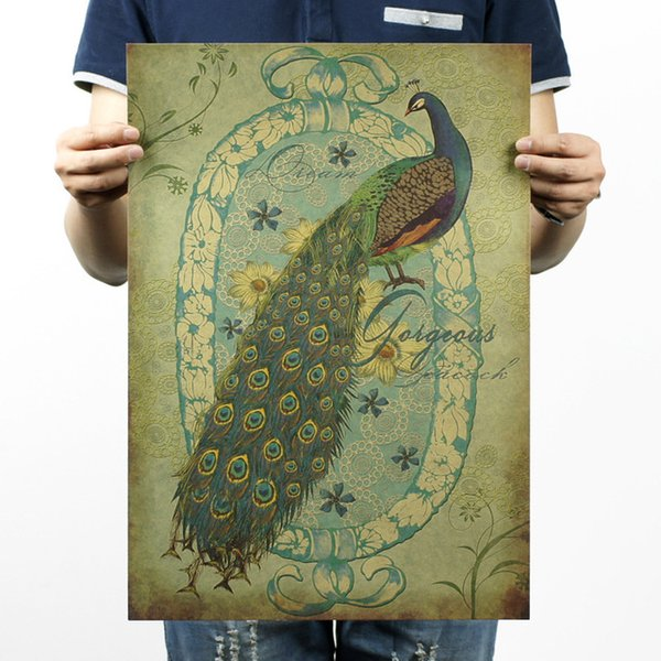 Wholesale-Hand-painted Peacock / Nostalgia / Advertising Posters / Bar Decorative Painting 51x35.5cm/ High Quality Home Decor Paper