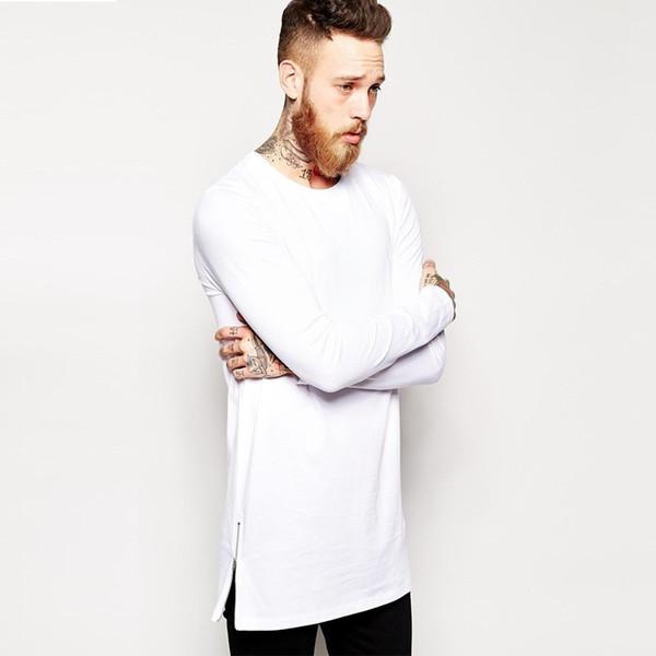 New Men Hip hop T Shirts Long Sleeve T-shirt With Side Zippers T shirt Men Oversized Street-Wear Longline Top Tees