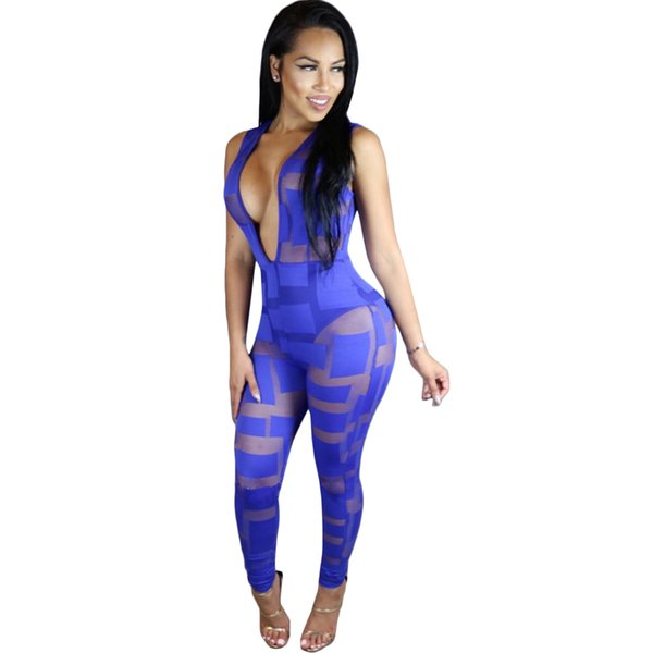 Wholesale- Mesh Sexy See Through Rompers Womens Jumpsuit 2017 New Spring Sleeveless Deep V Neck Patchwork Bodycon Black Club Wear Overalls