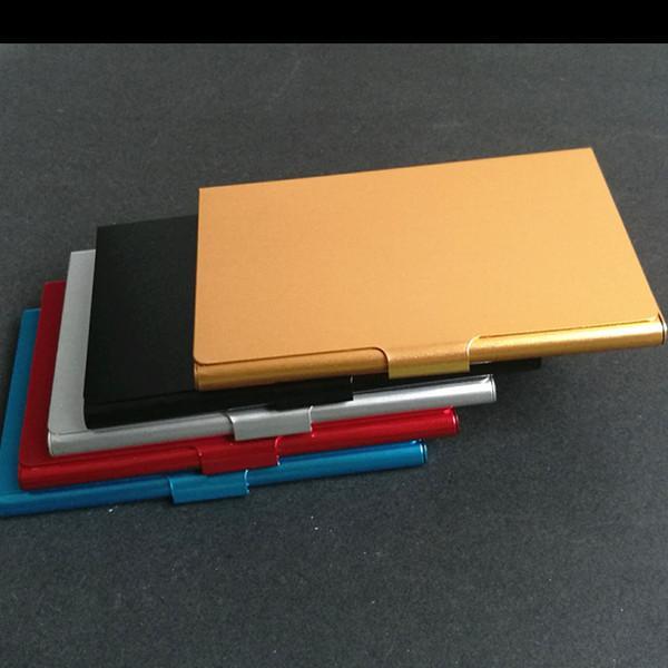 Großhandel Kreative Visitenkarte Fall Edelstahl Aluminium Halter Metall Box Cover Credit Visitenkartenhalter Karte Metall Brieftasche Männer Von