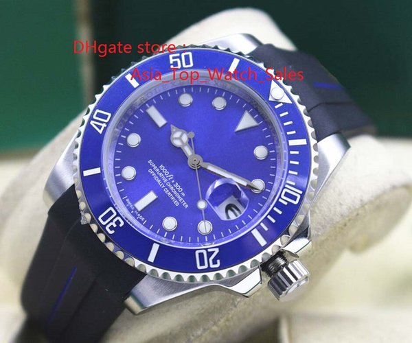 Top Quality Luxury Wristwatch 116619 Mens Rubber Bracelet blue Ceramic Bezel blue Dial 40MM Mechanical Men Watches