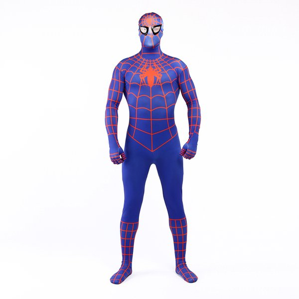 Brand New 2017 Blue and Orange Lycra Spandex Full Body Jumpsuit Classic Superhero Spider-man Cosplay Zentai Suit Costume For Halloween
