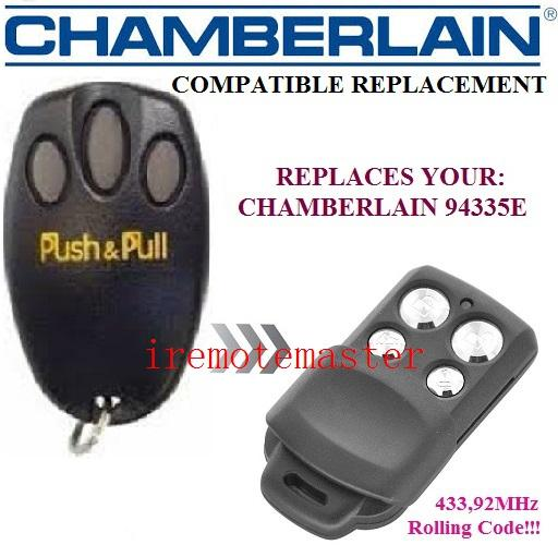 Compatible with Chamberlain 94335E Remote Control, 433,92Mhz Rolling code