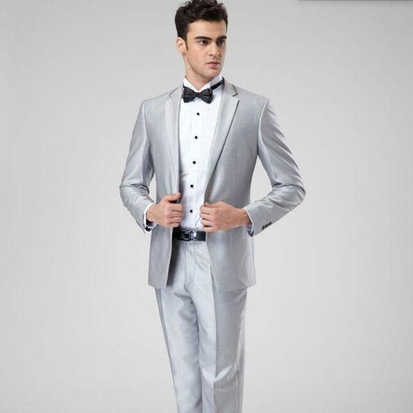 New arrival groom wedding tuxedo suits gray men suits solid color lapel elegant business formal occasions suits(jacket+pants)