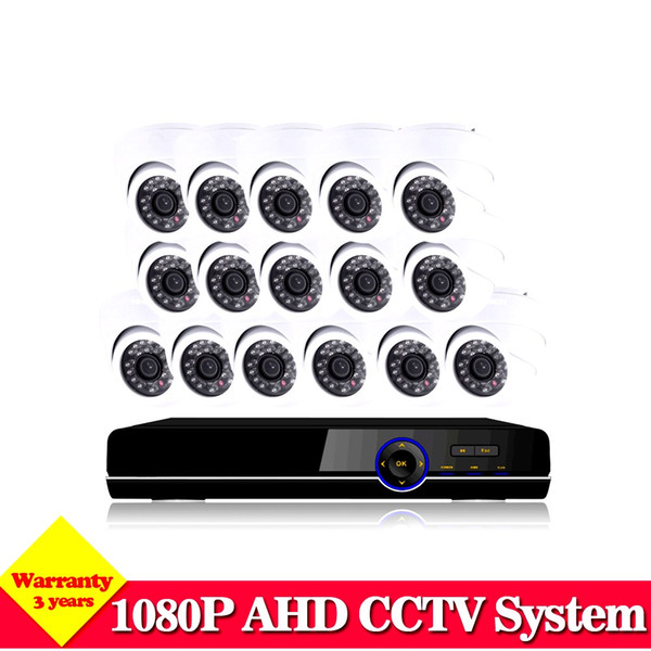 NINI 16CH 1080P DVR Video CCTV System HD 16Pcs 2.0MP 3000TVL IR indoor White Dome Security Camera Surveillance System