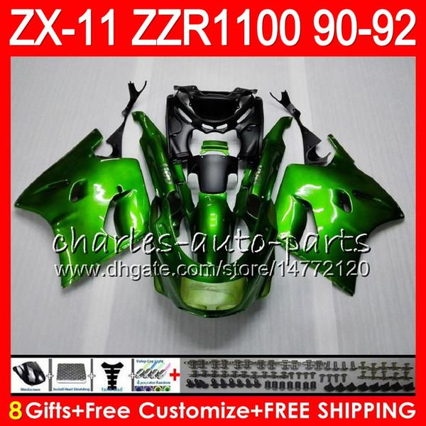8Geschenke 23 Farben Für KAWASAKI NINJA ZX11 ZX11R 90 91 92 ZZR 1100 grün schwarz 21HM5 ZX11 11R ZZR1100 ZX-11R ZX-11 1990 1991 1992 Verkleidungssatz