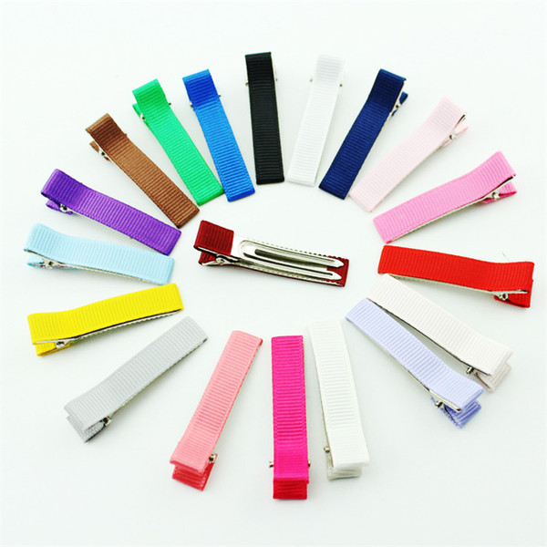 50pcs Mix Colors 34mm Double Prong Alligator Hair Clip for Kids Bow Satin Ribbon Pin DIY Hair Accessories
