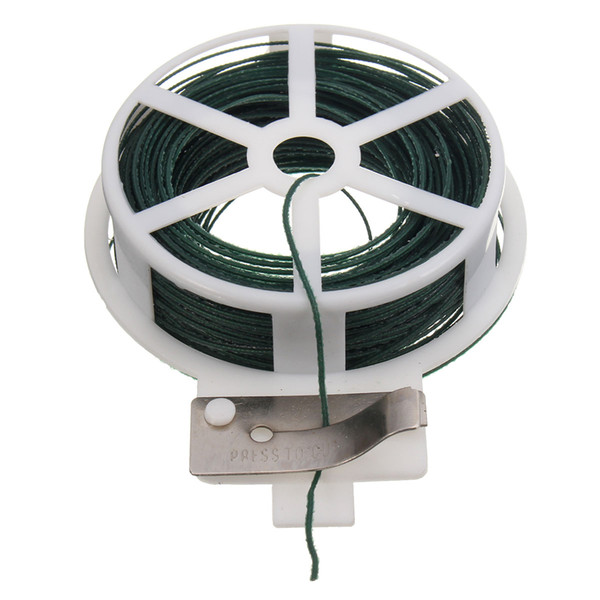 Favorable Cable Tie 30M Roll Wire Twist Tie Reel Green Garden Gardening Cable String with Cutter Slicer Plastic and Iron