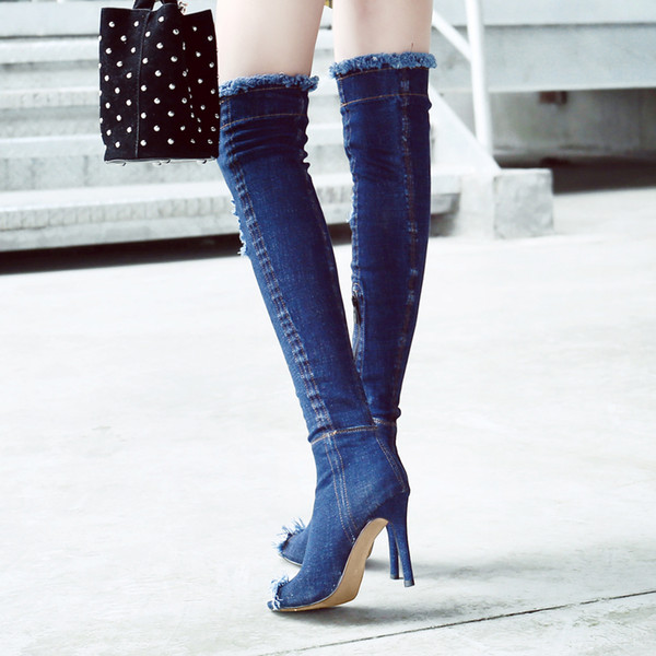 Cheap Arden Furtado Blue Denim Boots Over The Knee Thigh High ...