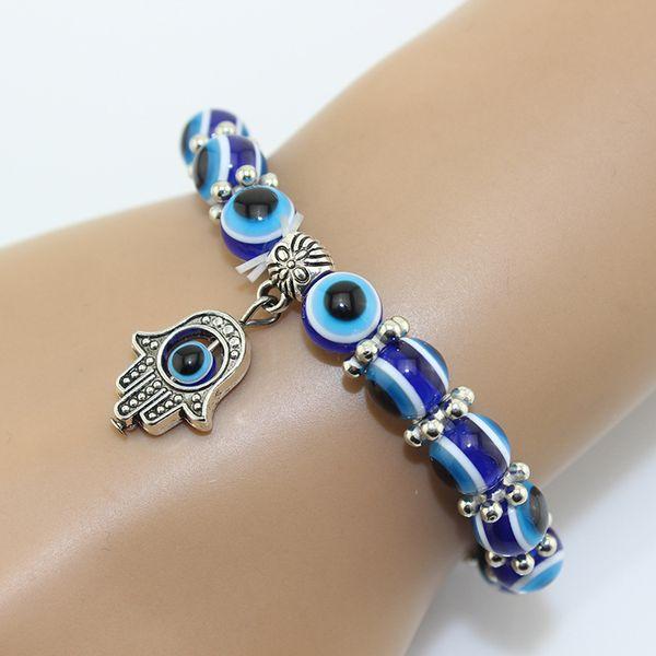 2019 Nueva Europa América Popular vendedor caliente Retro Eyes Beads Fatima Hand Good Lucky Bracelet Womens Mens Jewelry Día de san valentín presente