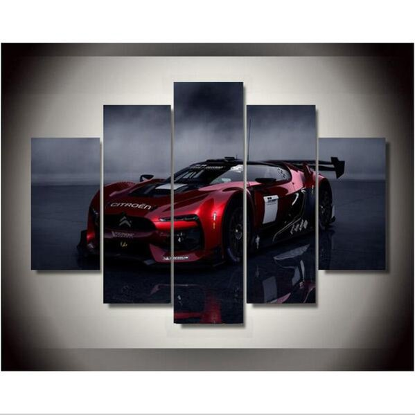 5 Pieces canvas art New Canvas Printings Citroen Racing Car Painting Wall Decoration for home Poster Canvas Free shipping