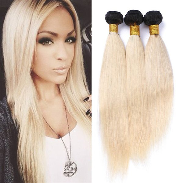 8A Peruvian 1B 613 Ombre Straight Human Hair 3 Bundles Dark Roots Platinum Blonde Ombre Virgin Peruvian Hair Weave Extensions