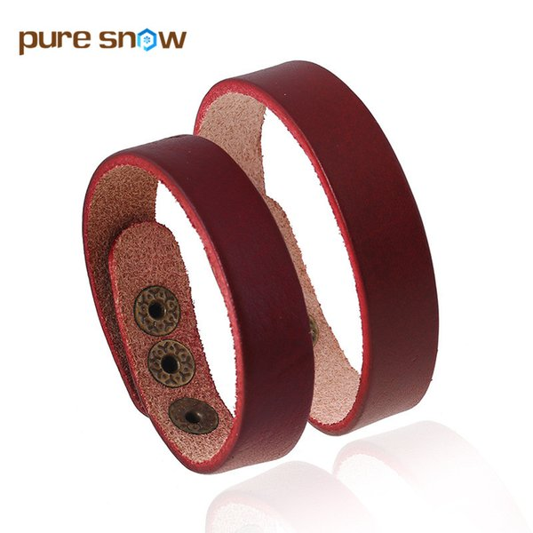 Pure Snow Trendy Brand Wristband Punk Charm Jewelry Simple Retro Leather Bracelets Cuff Wide Bracelet Men And Women Couple Gift
